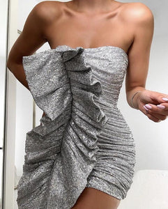 KAYLIN STRAPLESS RUFFLE SEQUIN DRESS