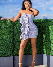 Load image into Gallery viewer, KAYLIN STRAPLESS RUFFLE SEQUIN DRESS
