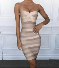 Load image into Gallery viewer, KENZI STRIPED STRAPLESS BANDAGE DRESS