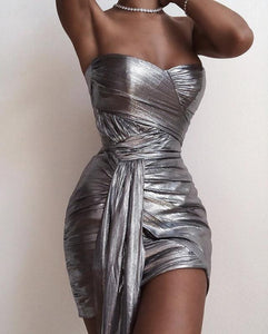 MALIA STRAPLESS DRAPED MINI DRESS
