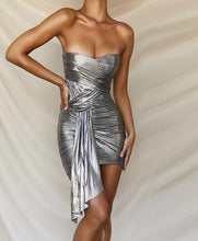 Load image into Gallery viewer, MALIA STRAPLESS DRAPED MINI DRESS
