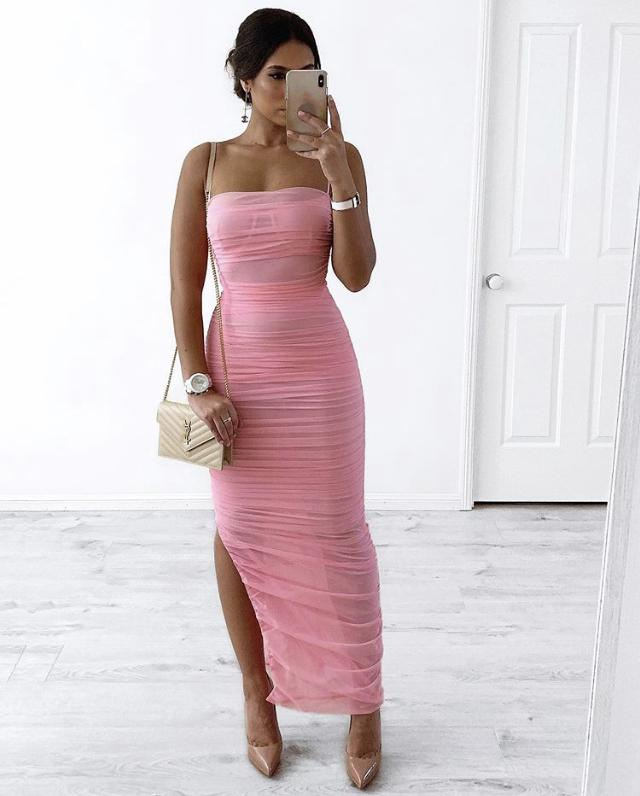 STOKK PLEATED HIGH SPLIT MAXI DRESS