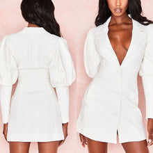 Load image into Gallery viewer, SWAE PUFF SLEEVE BUTTON UP JACKET DRESS