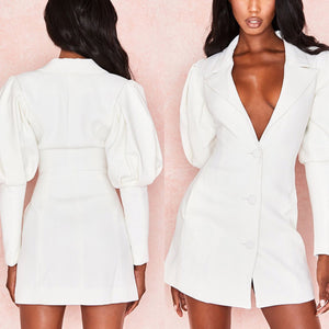 SWAE PUFF SLEEVE BUTTON UP JACKET DRESS