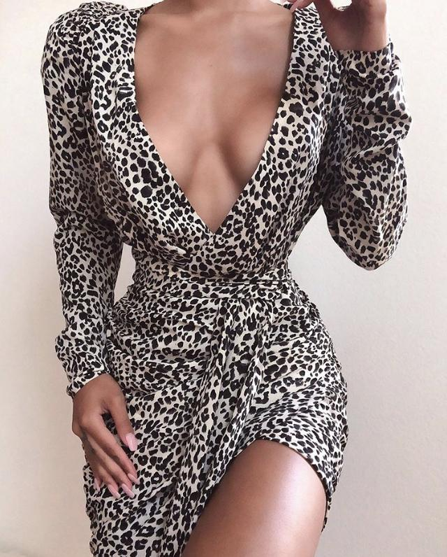 YANNI LEOPARD PRINT DRAPED MINI