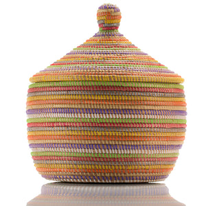 Multi Color African Handmade Traditional Table Basket Large