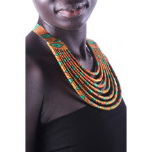 Load image into Gallery viewer, Stylish Orange & Green Colorful African Ankara Wax Print Necklace