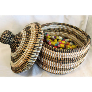 Black & White Hand Made African Traditional Table Basket Medium