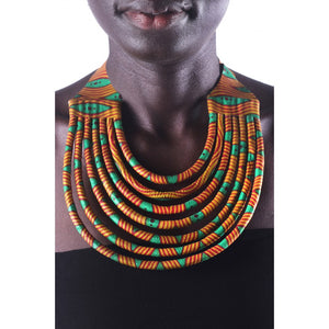 Stylish Orange & Green Colorful African Ankara Wax Print Necklace
