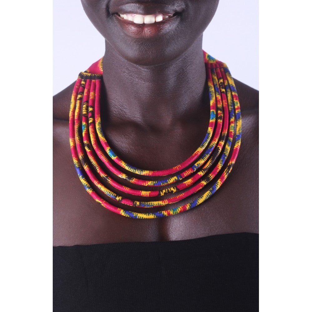 Stylish Red & Yellow Colorful African Ankara Wax Print Necklace