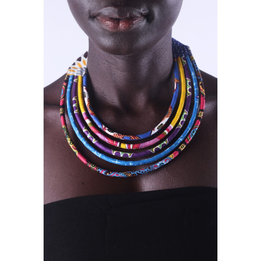 Stylish Blue & Colorful African Ankara Wax Print Necklace