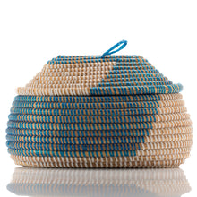 Load image into Gallery viewer, Blue & White African Handmade Traditional Table Basket Medium