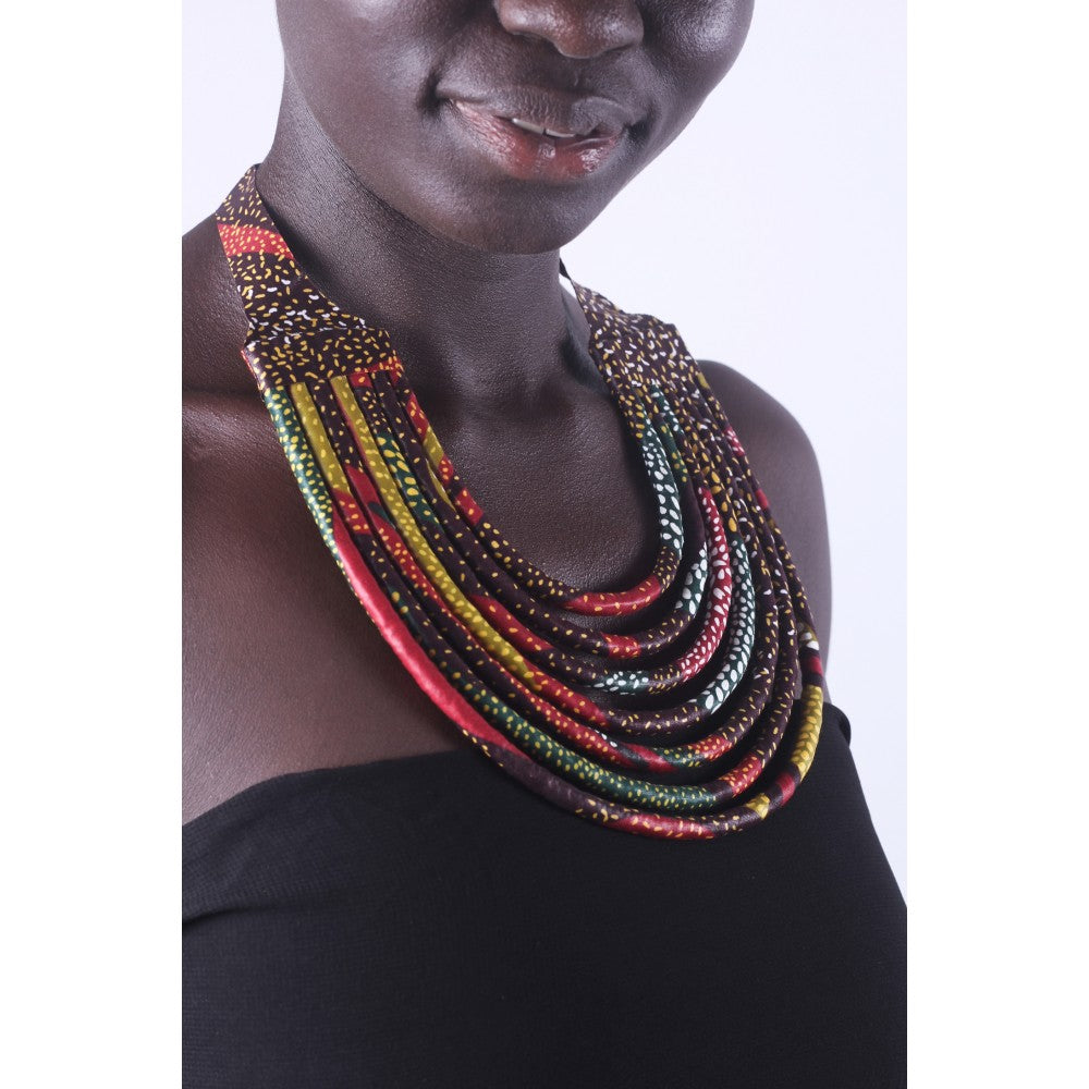 Stylish Blue & Gold Colorful African Ankara Wax Print Necklace