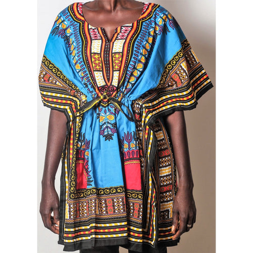African Dream Blue Dashiki Women Top