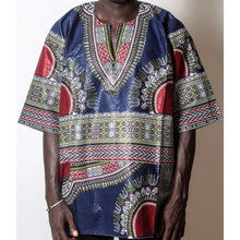 Load image into Gallery viewer, African Dream Dark Blue Dashiki Men Top