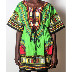 African Dream Green Dashiki Women Top