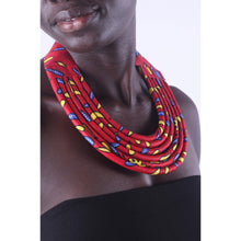 Load image into Gallery viewer, Stylish Red Colorful African Ankara Wax Print Necklace