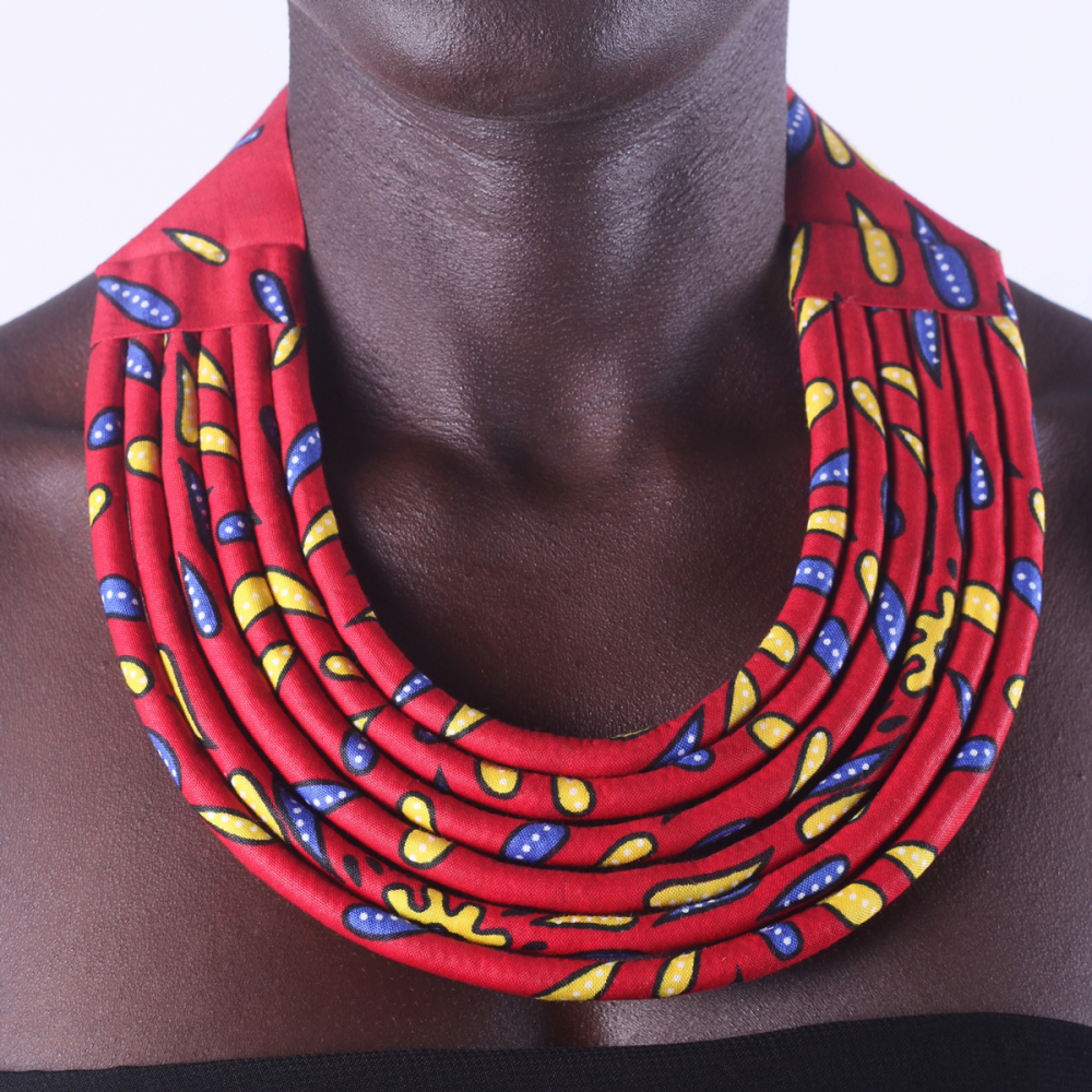Stylish Red Colorful African Ankara Wax Print Necklace