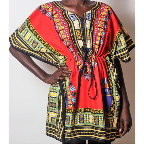 African Dream Red Dashiki Women Top