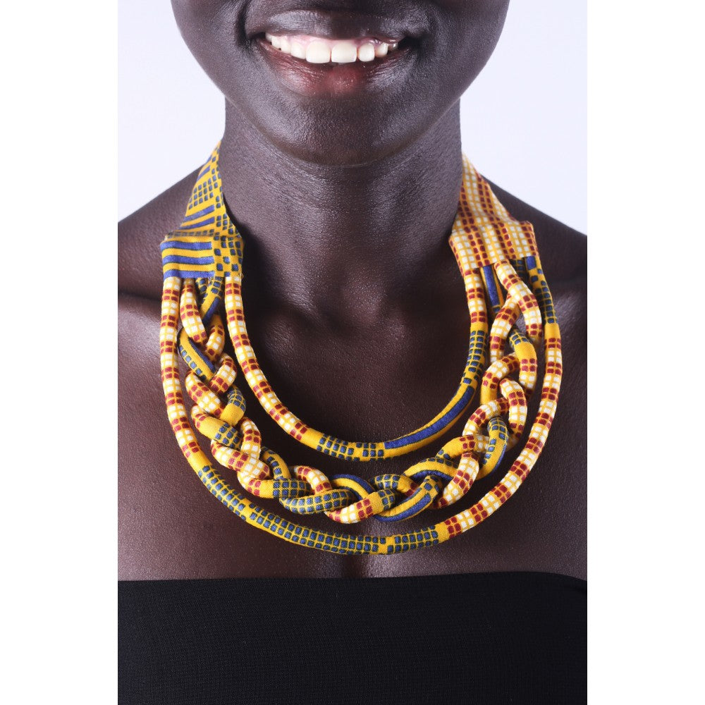 Stylish Yellow & Cream Knots Colorful African Ankara Wax Print Necklace