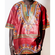Load image into Gallery viewer, African Dream Red Dashiki Men Top