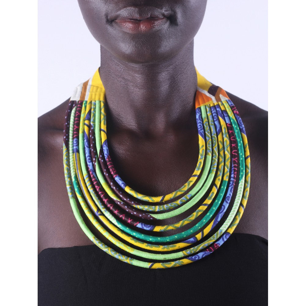 Stylish Yellow & Green Colorful African Ankara Wax Print Necklace