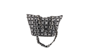 Black & White Ankara Pattern Shoulder Bag Medium