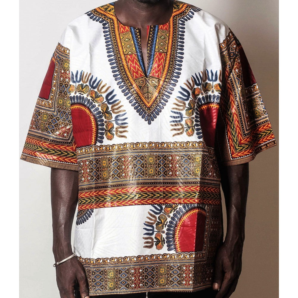 African Dream White Dashiki Men Top