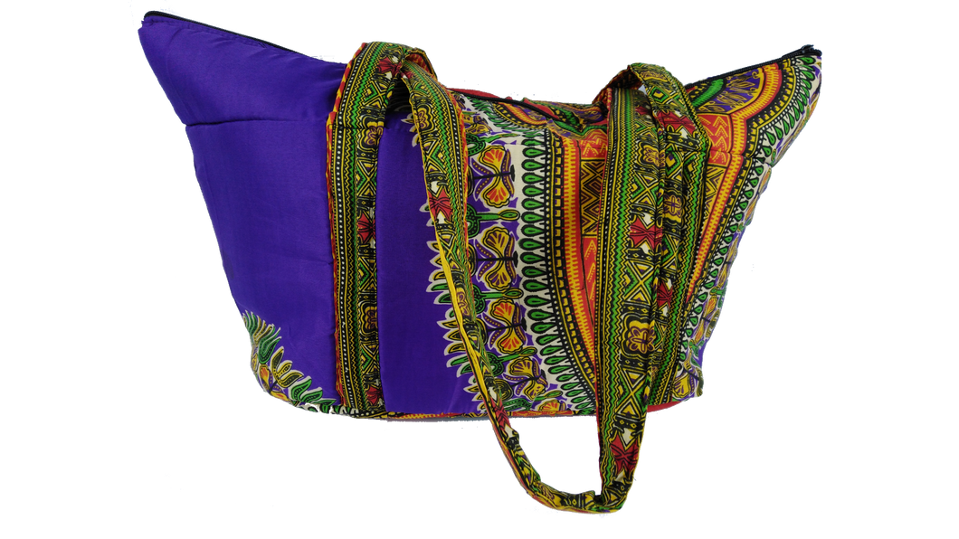 Purple & Mixed Ankara Pattern Shoulder Bag Medium