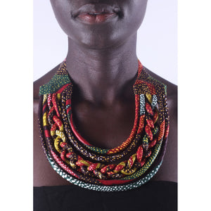 Stylish Red & Yellow Knotted Colorful African Ankara Wax Print Necklace