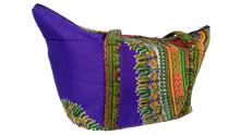 Load image into Gallery viewer, Purple & Mixed Ankara Pattern Shoulder Bag Medium