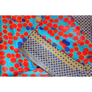 Stylish Red & Blue Dots African Head Wrap