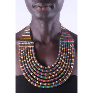 Stylish Blue & Brown Colorful African Ankara Wax Print Necklace