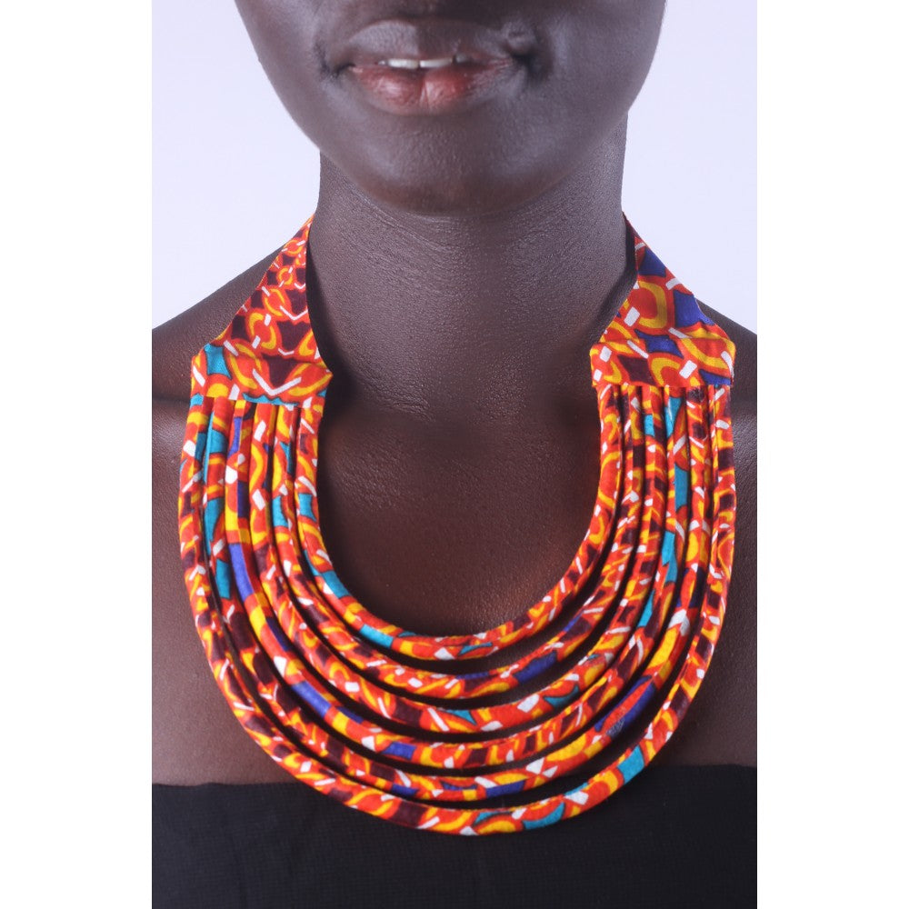 Stylish Yellow & Red Colorful African Ankara Wax Print Necklace