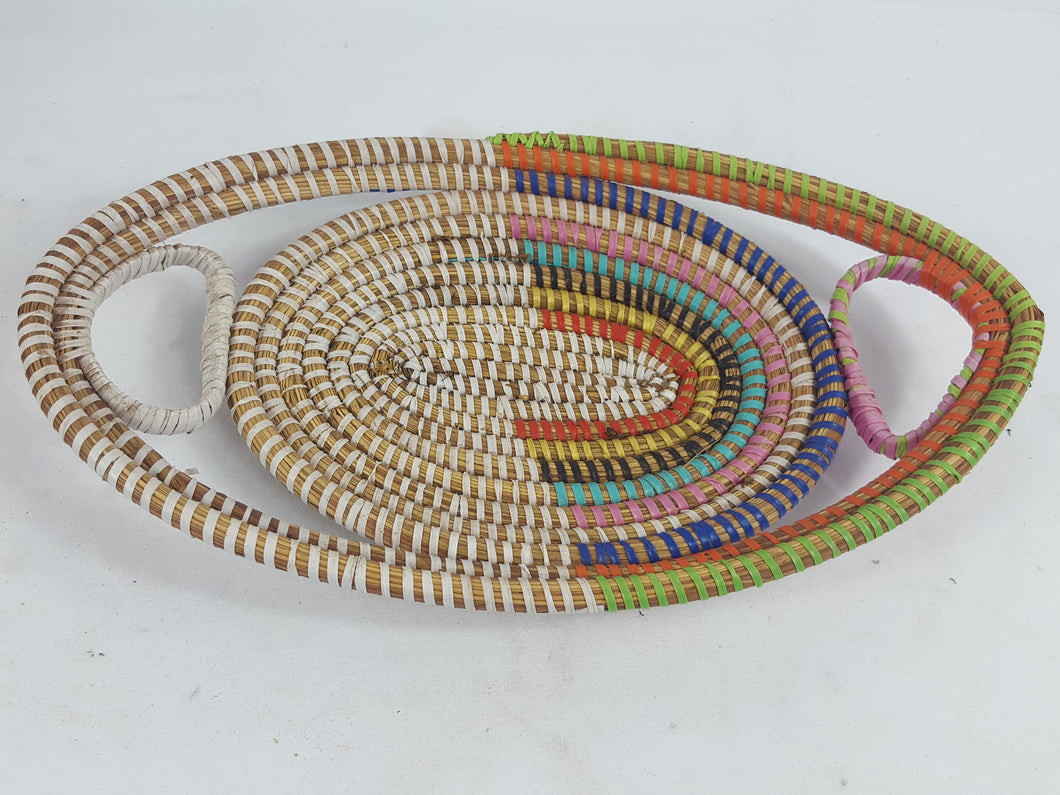 Multi Color African Handmade Traditional Table Basket Small