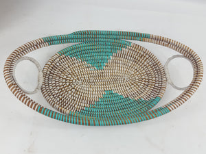 Light Blue African Handmade Traditional Table Basket Medium