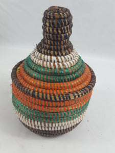 Tricolor African Handmade Traditional Table Basket Medium
