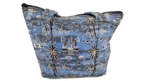 African Fishing Village Ankara Pattern Shoulder Bag