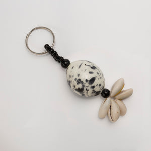Black & White African Egg Ball Keyring