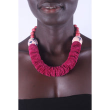 Load image into Gallery viewer, Burgundy Bold & chunky African necklace