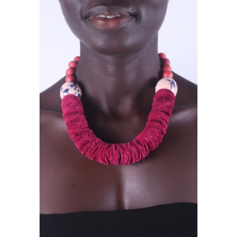Burgundy Bold & chunky African necklace