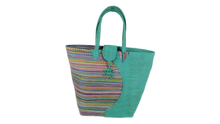Load image into Gallery viewer, African Eco Light Blue & Mixed Pattern Woven Bag