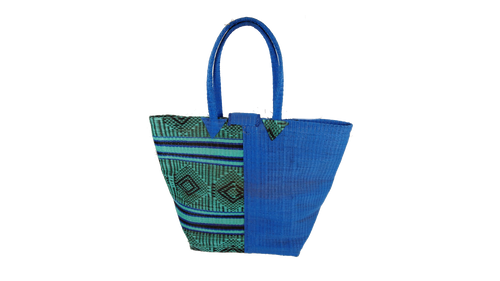 African Plastic Dark Blue & Mixed Pattern Woven Bag