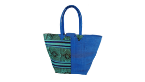 African Eco Dark Blue & Mixed Pattern Woven Bag