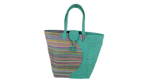 African Eco Light Blue & Mixed Pattern Woven Bag