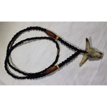 Load image into Gallery viewer, African Bull Head Pendant On Black & Multi Colour Beads Necklace