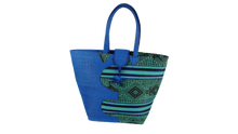 Load image into Gallery viewer, African Eco Dark Blue & Mixed Pattern Woven Bag