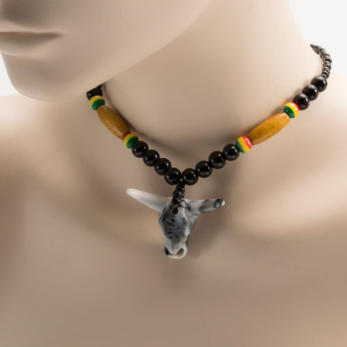 African Bull Head Pendant On Black & Multi Colour Beads Necklace