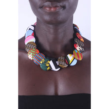 Load image into Gallery viewer, Cool Multicolored Button Ankara Necklace