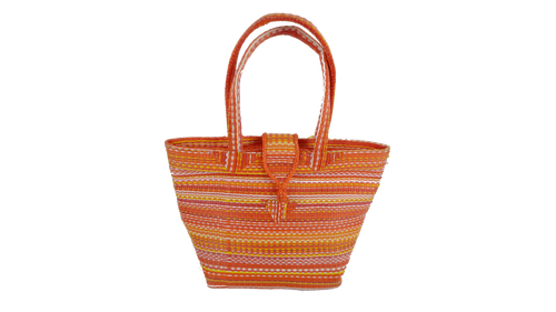 African Plastic Orange Mixed Pattern Woven Bag